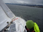 going upwind with reef in jib andmain